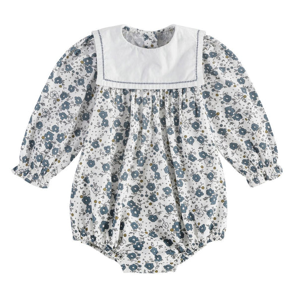 Little Cotton Clothes Maeve sailor collar romper - watercolour floral