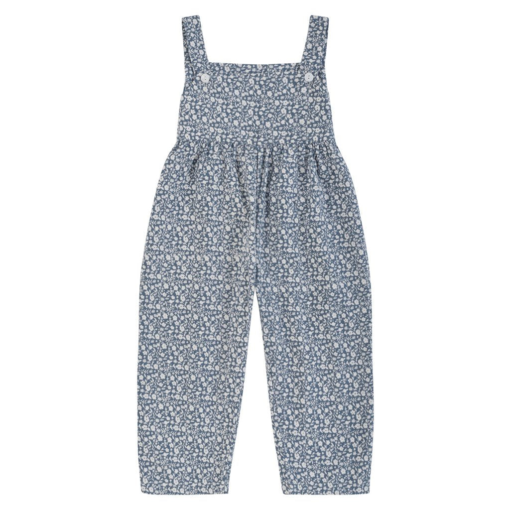Little Cotton Clothes Margo dungarees - blue floral brushed cotton