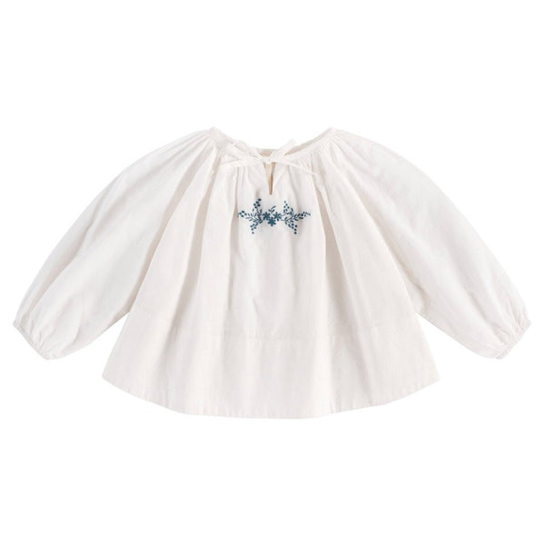 Little Cotton Clothes Embroidered Olive blouse - off white