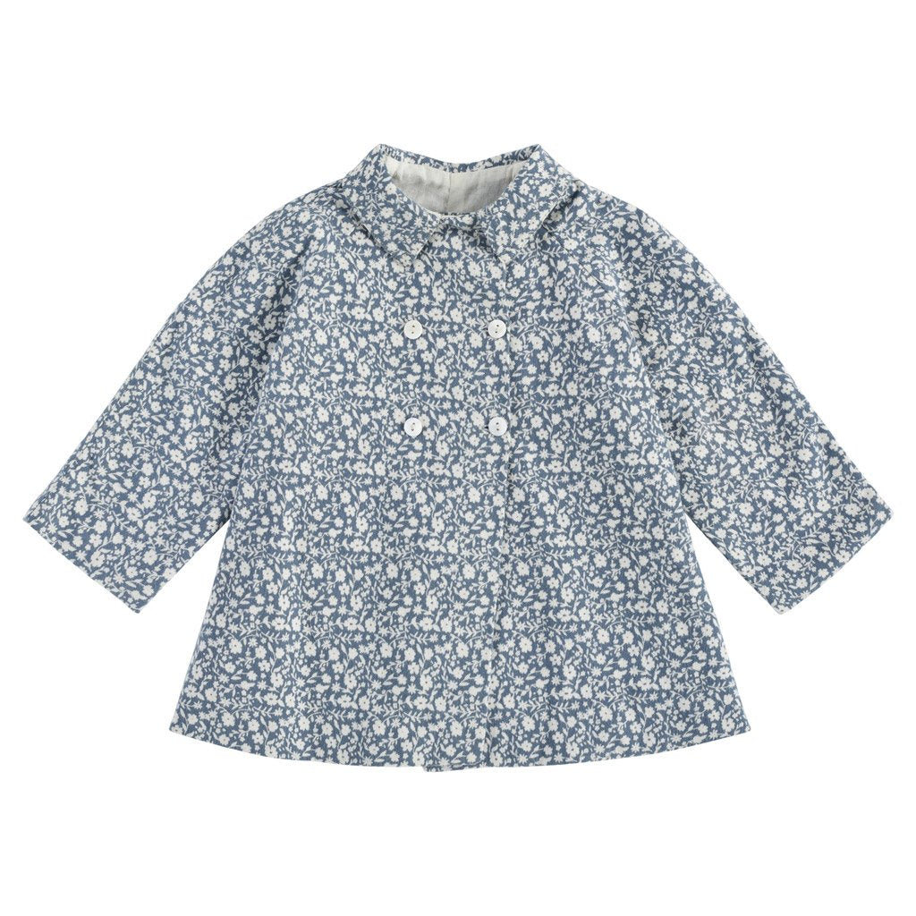 Little Cotton Clothes Sophie jacket - blue floral brushed cotton