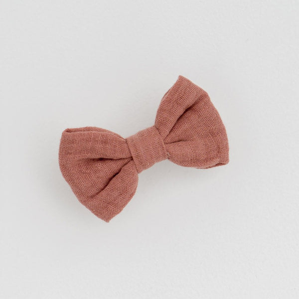 Little Cotton Clothes Small hair bow - old rose muslin