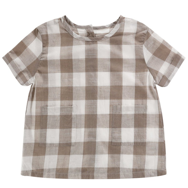 Little Cotton Clothes Clovelly Top - Textured Cinder Gingham