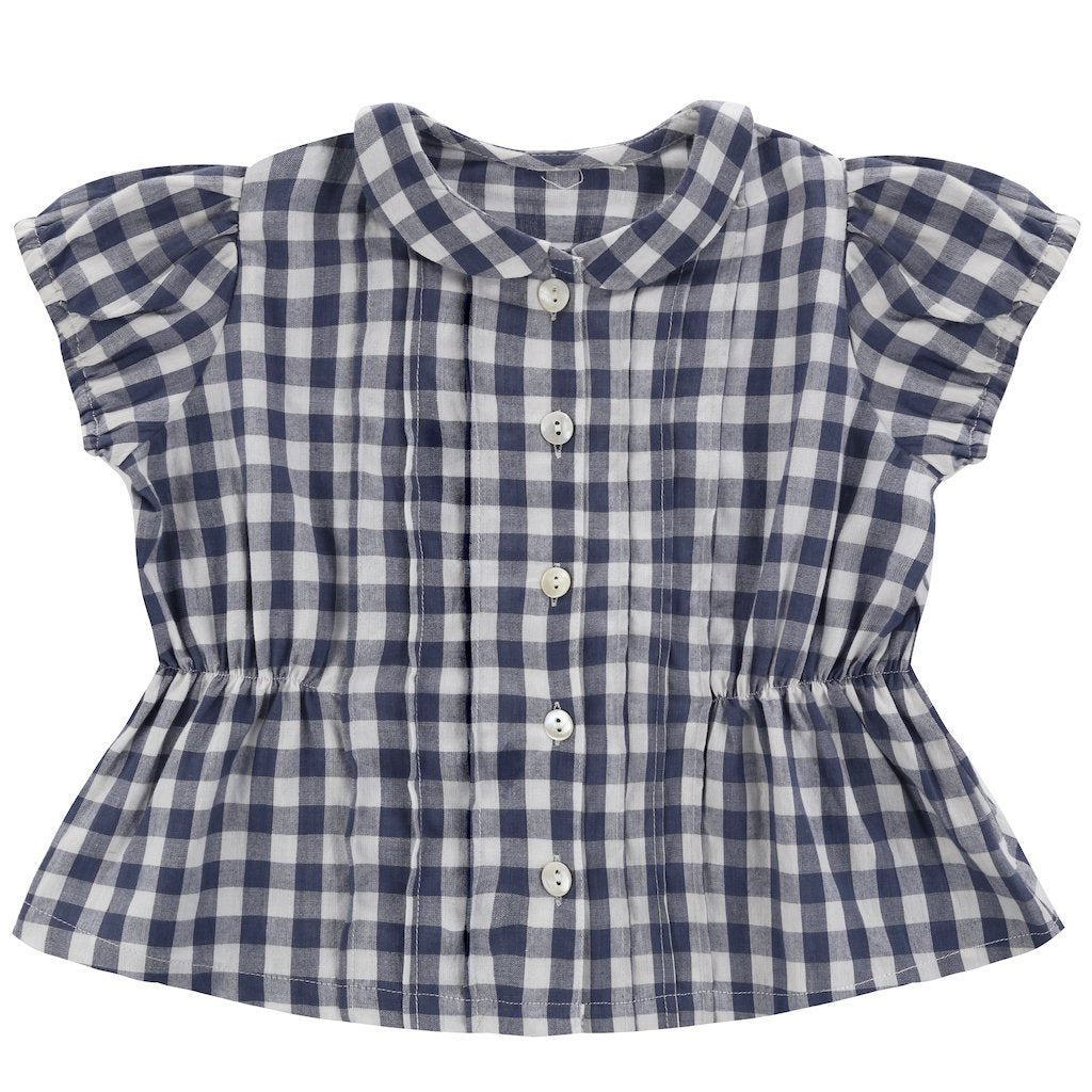 Little Cotton Clothes Dolly Blouse - small gingham ink blue