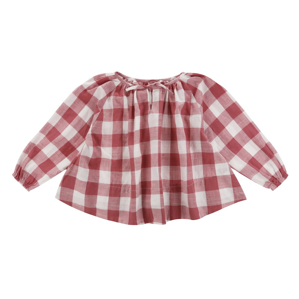 Little Cotton Clothes Olive Smock - Textured Gingham Mulberry