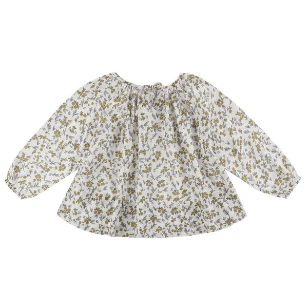 Little Cotton Clothes Olive Smock - Yellow meadow Floral