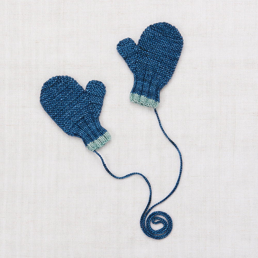 Hand Knit Merino Safe Harbor Mittens - Blue Smoke
