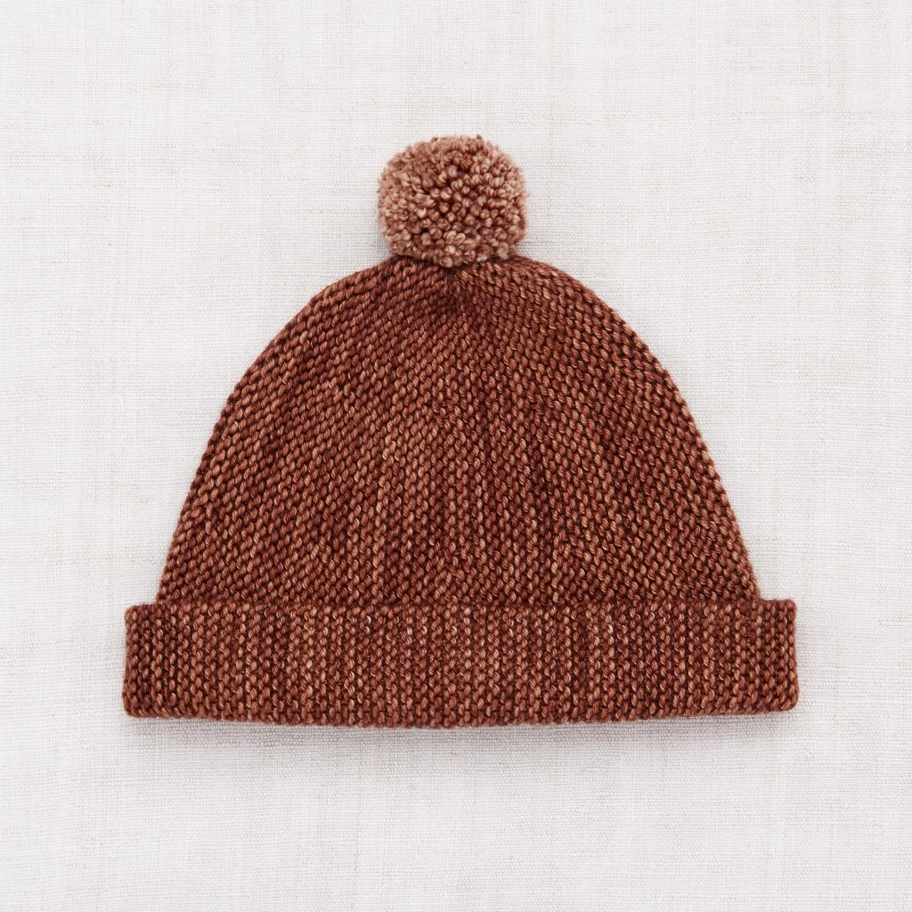 Misha and Puff Garter Hat - Chestnut