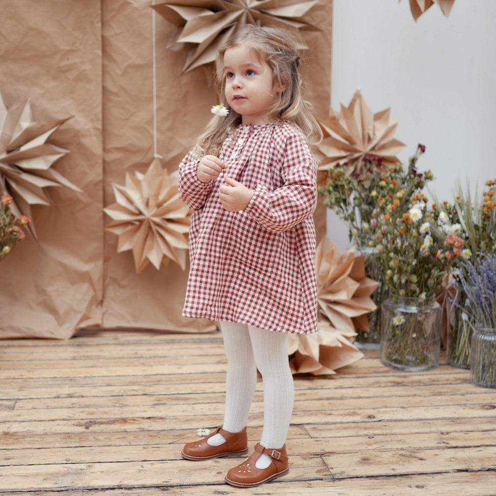 Mother May I Dress - Linen Red Check