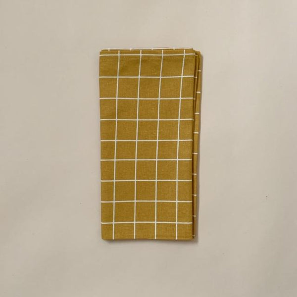 Organic Cotton Napkins 4-pack - Check Mustard
