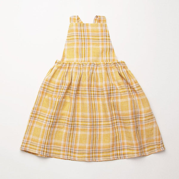 Nellie Quats Conkers Pinafore - Hay Plaid Linen