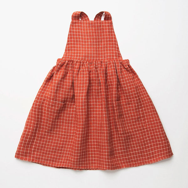 Nellie Quats Conkers Pinafore - Rust Check Linen