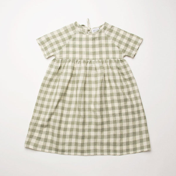 Nellie Quats Hopscotch Dress - Pistachio Check Linen