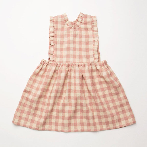 Nellie Quats Marlow Pinafore - Rose Check Linen