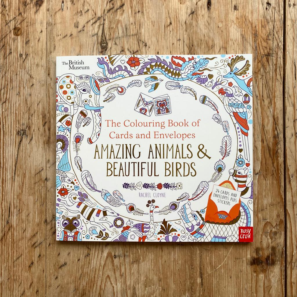 Nosy row The Colouring Book of Cards and Envelopes Amazing Animals and Beautiful Birds
