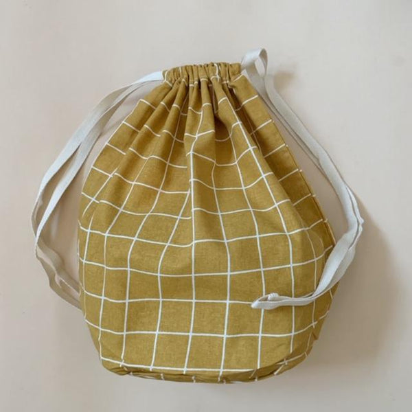 Organic Cotton Multi Bag Big - Check Mustard