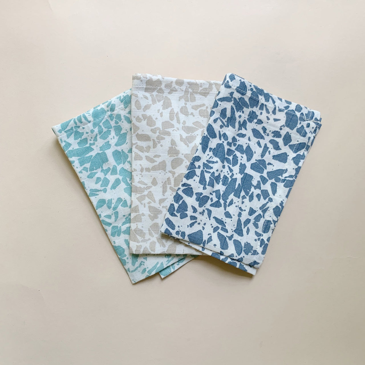 Organic Cotton Muslin Wash Cloths 3 Pack - Cold Terrazzo