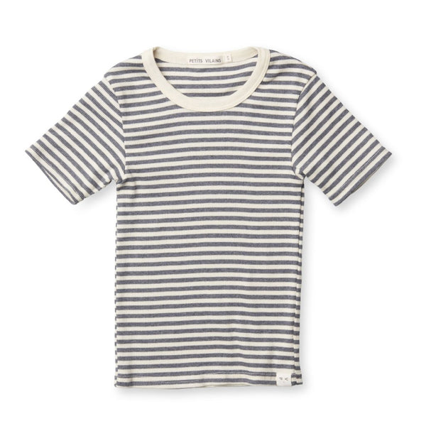 Pascal Slim Tee - Navy/Cream Stripe
