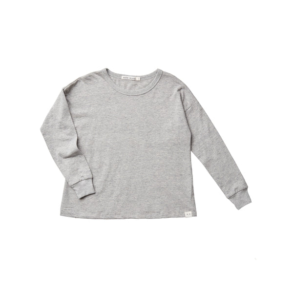 Organic Cotton Felix Drop Shoulder Crew - Heather Grey