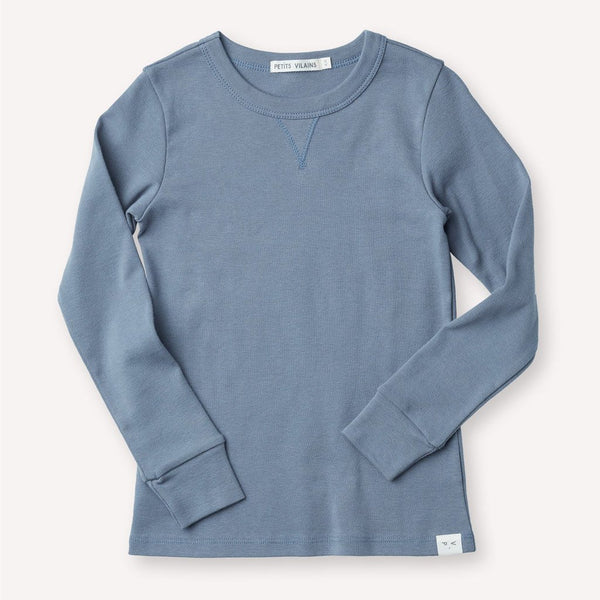 Petits Vilains Organic Cotton DOMINIQUE LONG SLEEVE CREW - Dusty Blue