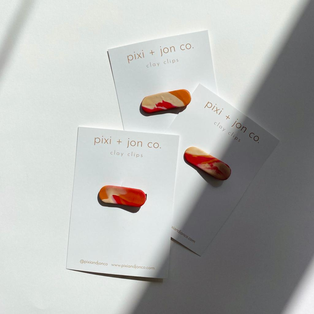 Pixi + Jon marbled clay hair clip rust