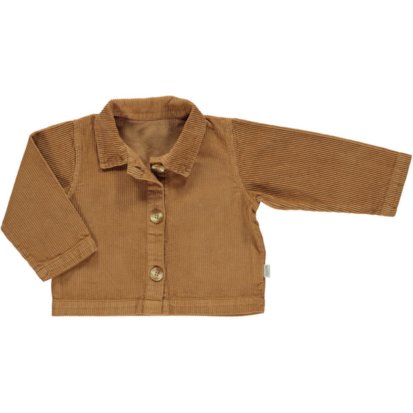 Organic Cotton Corduroy Jacket Pistache - Brown Sugar