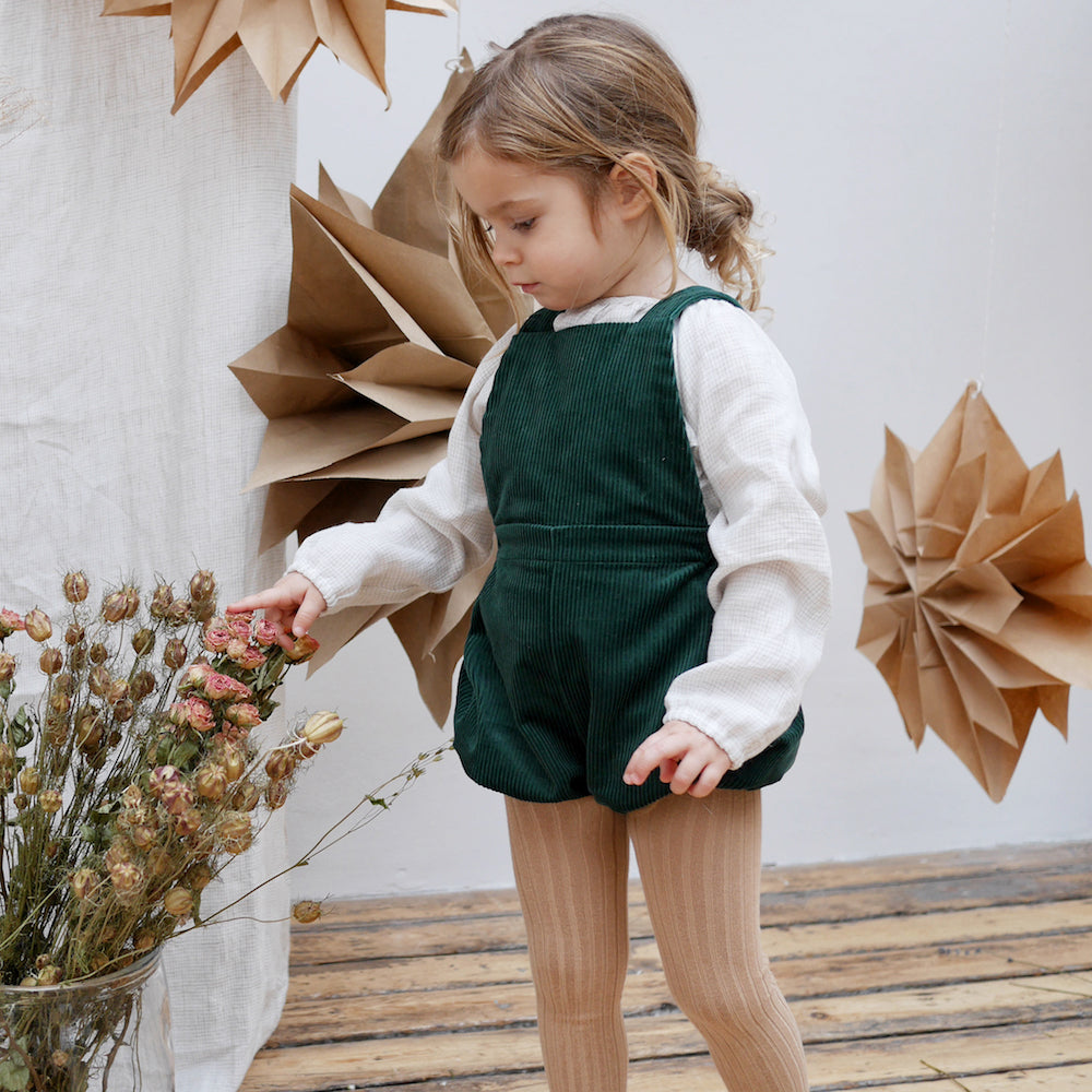 Jump Rope Romper - Corduroy Forest Green