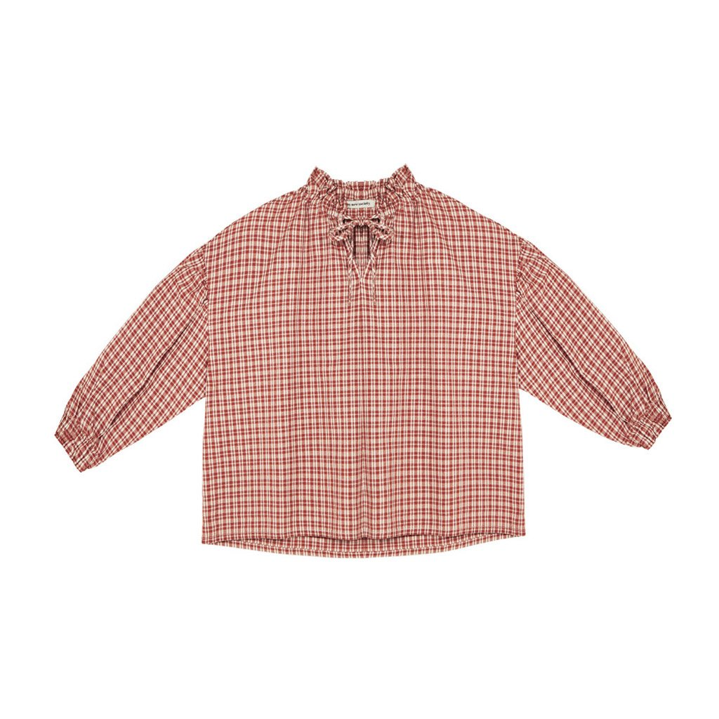 The New Society OLIVIA BLOUSE - CARAMEL CHECK