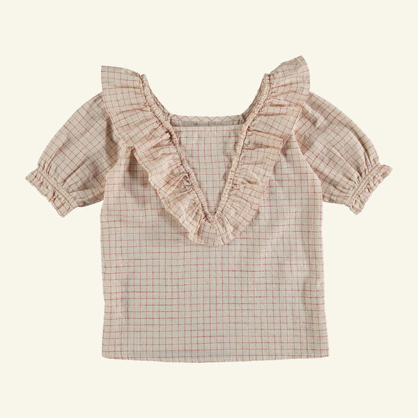 The New Society Bouquet Check Blouse - RED CHECK