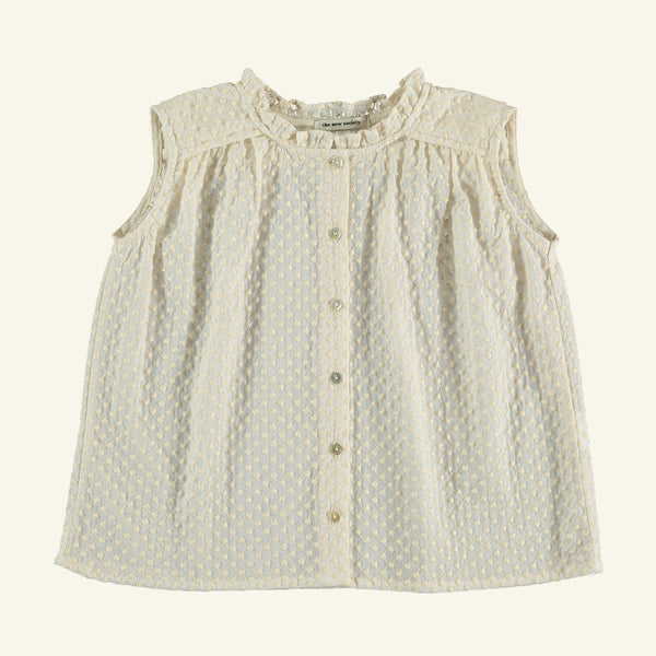 The New Society NYMPHEA COTTON SLEEVELESS BLOUSE - NATURAL