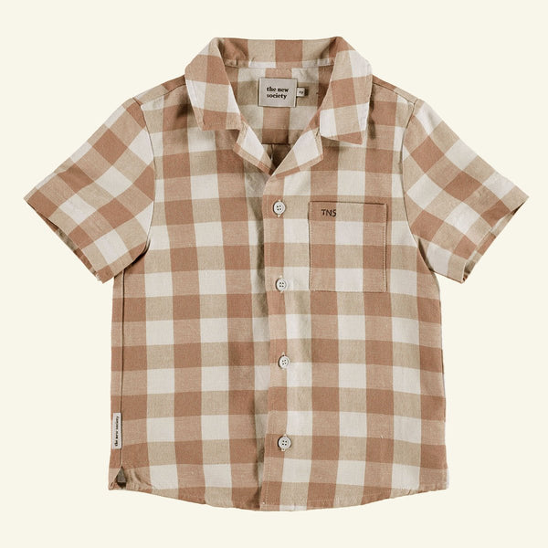 The New Society OLIVER LINEN SHIRT - VICHY CAMEL