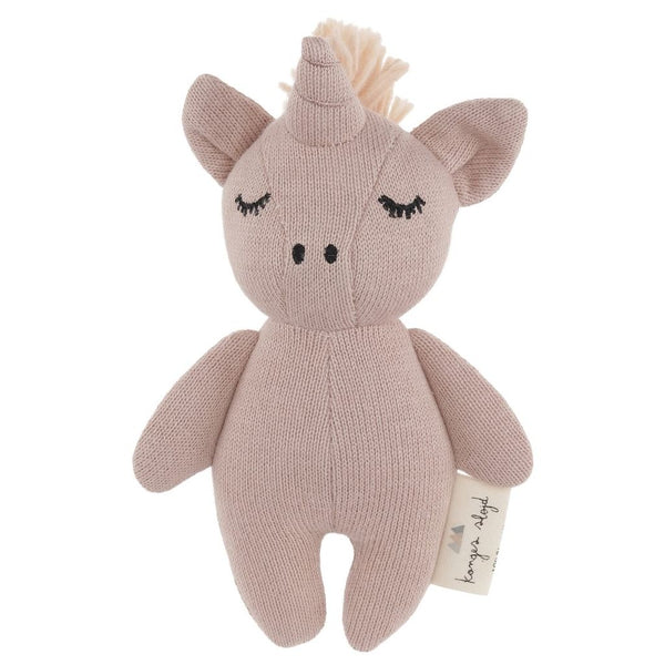 Toy animal by Konges Sløjd. This little unicorn is made of 100% knitted Oeko-Tex organic cotton. The little bell inside and crackle of ears are perfect to gently stimulate the baby.