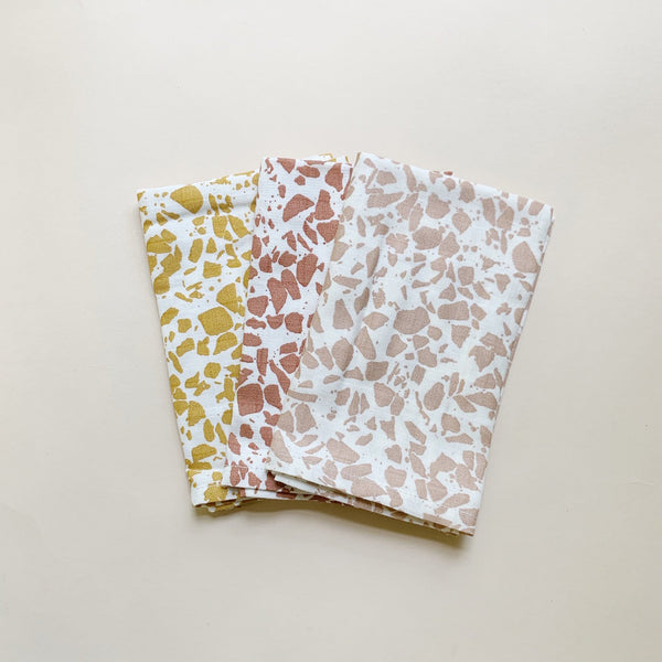 Organic Cotton Muslin Wash Cloths 3 Pack - Warm Terrazzo