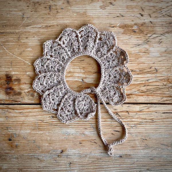 Yarn Goodies Handmade Crochet Collar Taupe