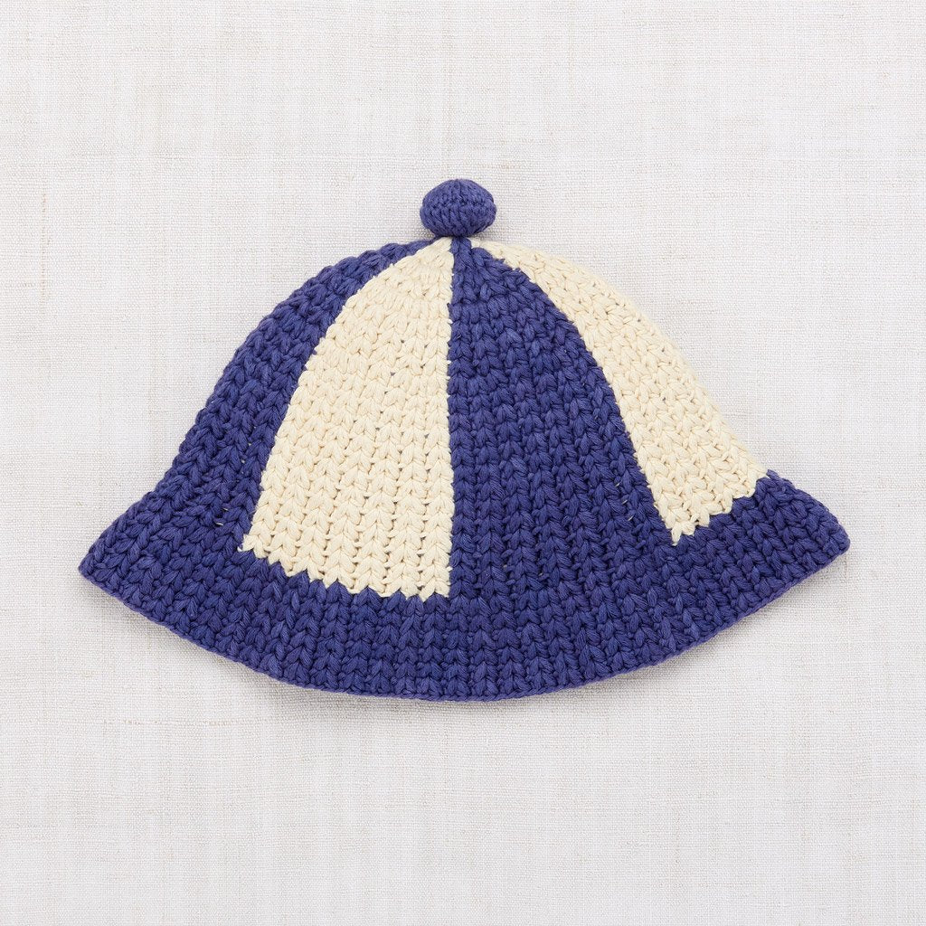 Misha and Puff Crochet Beach Hat - Blue Violet
