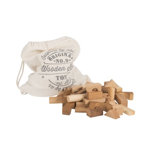 Natural Wooden Blocks in Sack - 100 pieces