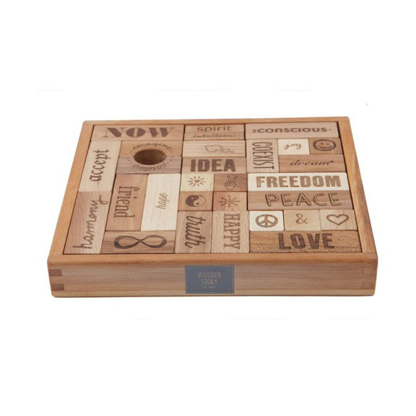 Wooden Blocks in Tray - Peace & Love