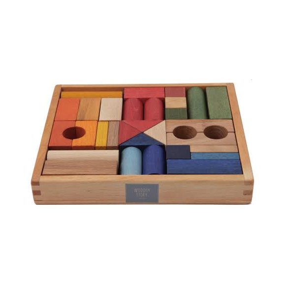 Wooden Story - Rainbow Blocks in Tray - 30 pieces