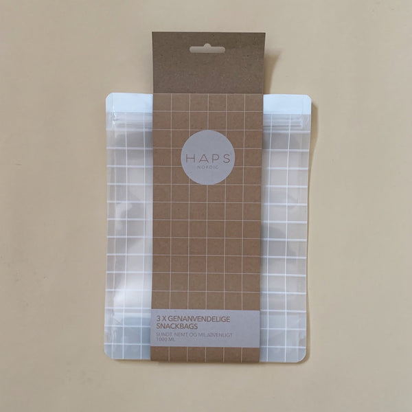 Reusable Snack Bag 3 Pack 1000ml - Transparent Check