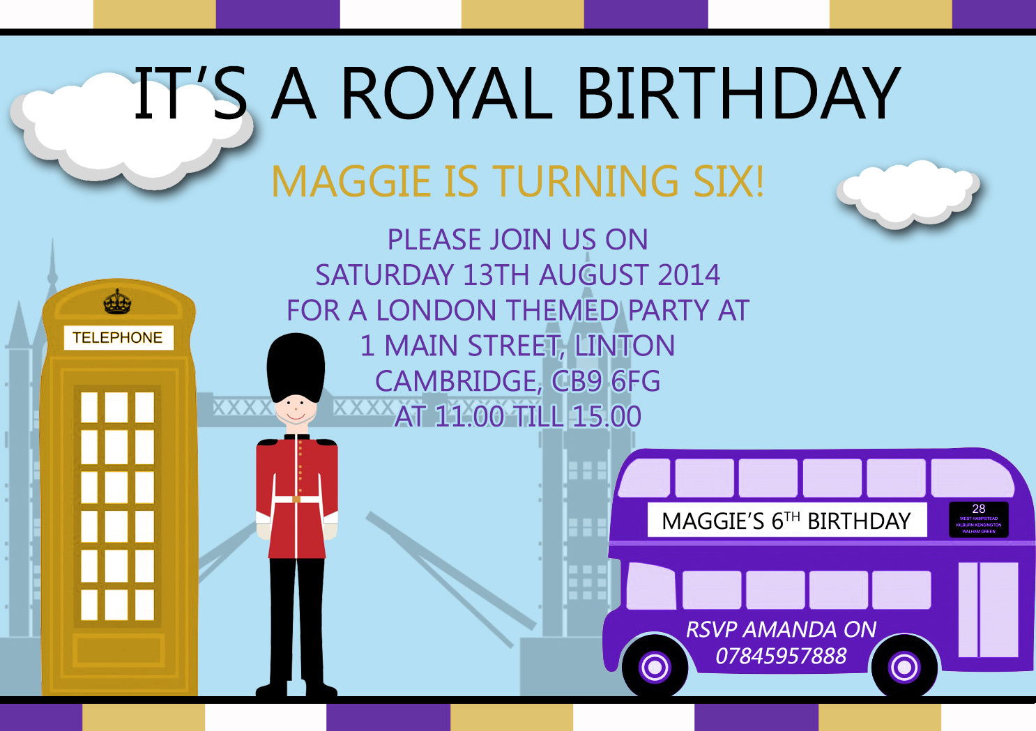 Royal London Joint Boy Girl Party Invitations