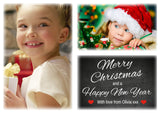 Chalkboard Fantasy Border Personalised Folded Flat Christmas Thank You Photo Cards Family Child Kids ~ QUANTITY DISCOUNT AVAILABLE