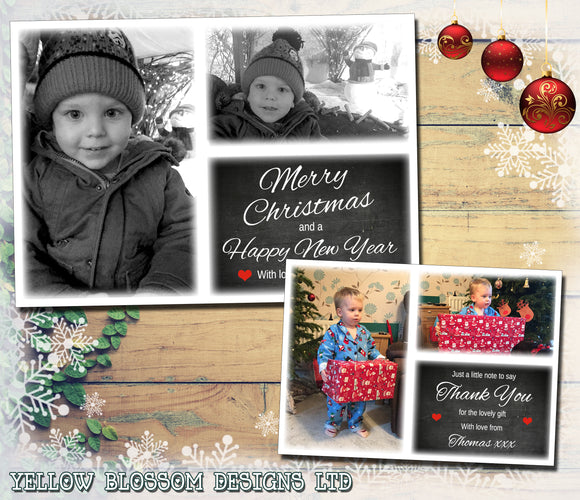 Cute Chalk Board Photos Portrait Personalised Folded Flat Christmas Photo Cards Family Child Kids ~ QUANTITY DISCOUNT AVAILABLE