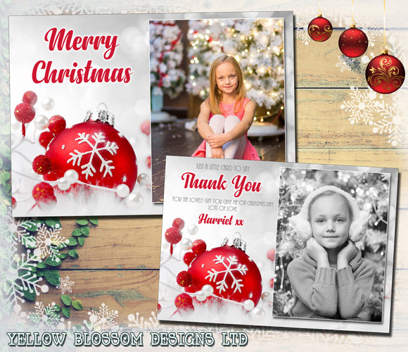 Silver Red Elegant Personalised Folded Flat Christmas Thank You Photo Cards Family Child Kids ~ QUANTITY DISCOUNT AVAILABLE