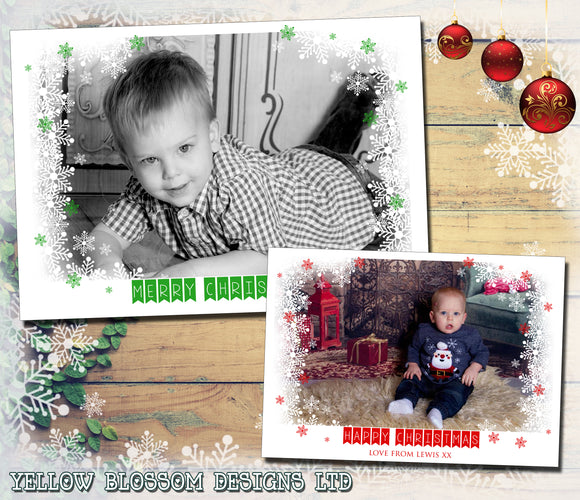 Snowy Border Personalised Folded Flat Christmas Photo Cards Family Child Kids ~ QUANTITY DISCOUNT AVAILABLE