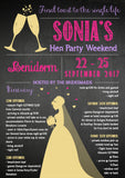 Rustic Natural Chalkboard Champagne Celebration Hen Weekend Itinerary Cards Hen Party Invites Bride To Be ~ QUANTITY DISCOUNT AVAILABLE
