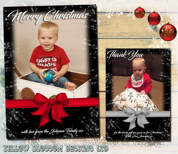 Starry Sky Night Bow Personalised Folded Flat Christmas Photo Cards Family Child Kids ~ QUANTITY DISCOUNT AVAILABLE