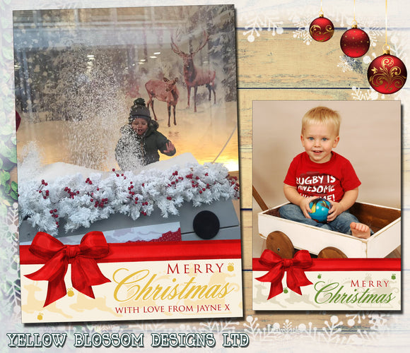 Portrait Bow Personalised Folded Flat Christmas Photo Cards Family Child Kids ~ QUANTITY DISCOUNT AVAILABLE