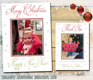 Classic Simple Personalised Folded Flat Christmas Photo Cards Family Child Kids ~ QUANTITY DISCOUNT AVAILABLE