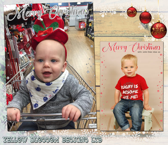 Christmas Photo Greeting Cards Full Photo Little Effect Dots