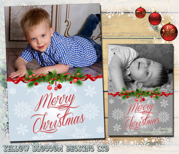 Classic Modern Personalised Folded Flat Christmas Photo Cards Family Child Kids ~ QUANTITY DISCOUNT AVAILABLE