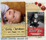 Glitter Effect Border Personalised Folded Flat Christmas Photo Cards Family Child Kids ~ QUANTITY DISCOUNT AVAILABLE